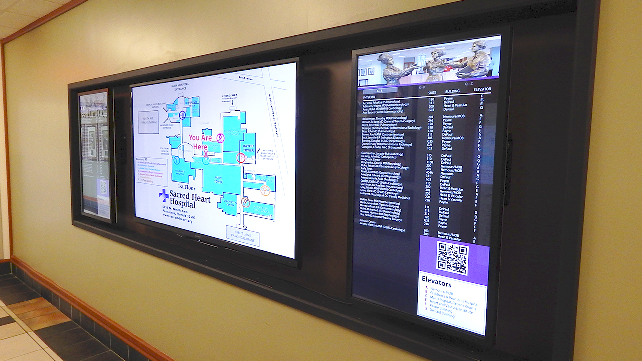 Digital Signage using interactive touch screen kiosks inform and entertain clients at Sacred Heart Hospitals