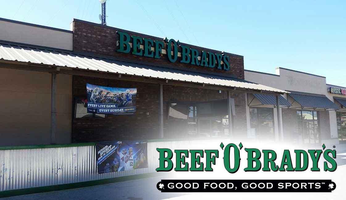 """Beef O'Brady's Nine Mile<br><i class=""""fa fa-television""""></i> 1 Ad Screen"""