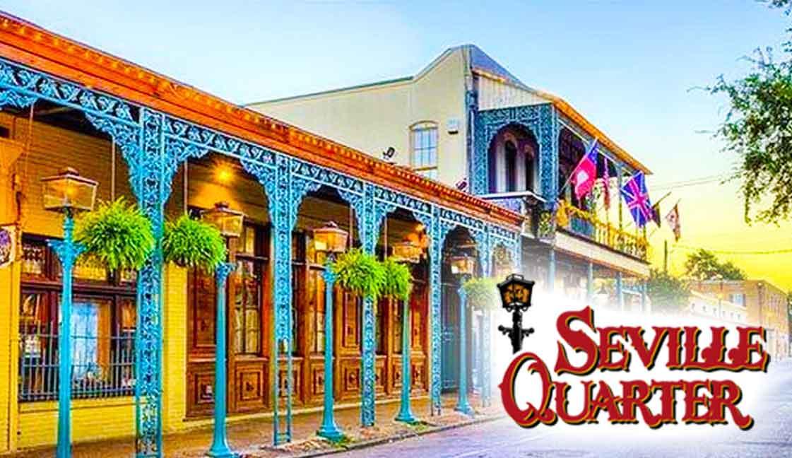 """Seville Quarter<br><i class=""""fa fa-television""""></i> 1 of 2 Ad Screens"""