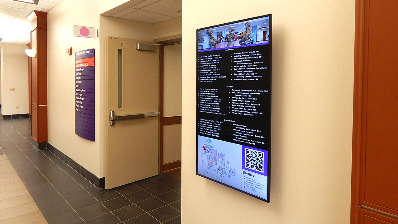 Digital Signage hospital directory at Sacred Heart Hospital in pensacola, FL.